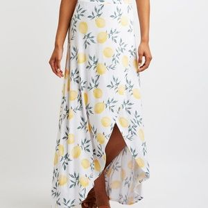 NWT Charlotte Russe Lemon Wrap Maxi Skirt